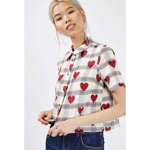 Topshop Heart Print Plaid Button Down Cropped Shirt